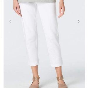 J.Jill pure jill slim-leg cropped white knit pants